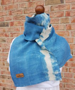 blue neckerchief silver lining made of hemp plant dyed