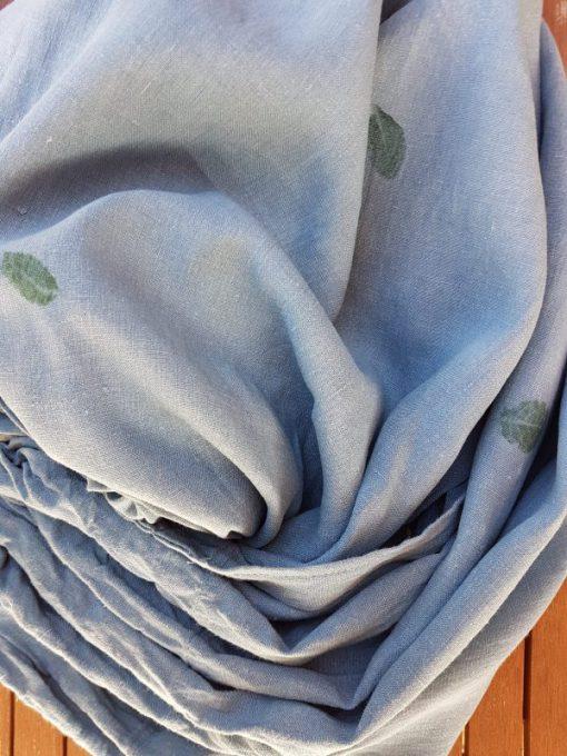 blaue Kornblume Blattwerk Ring Sling aus Hanf